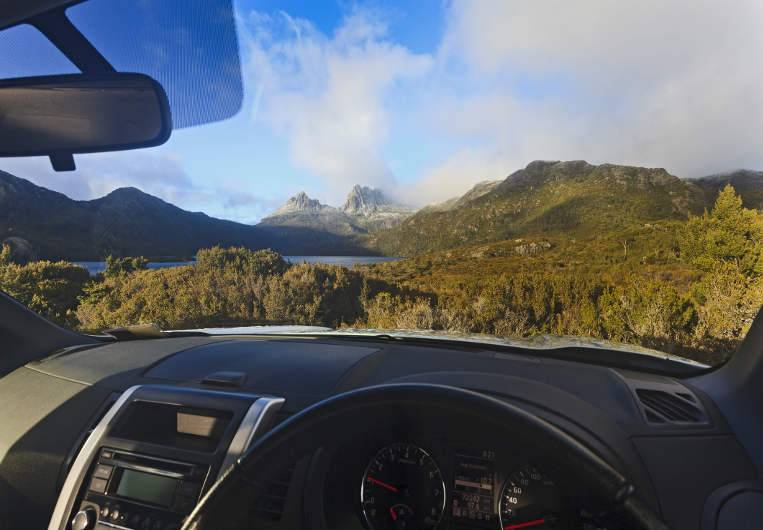 beautiful tasmanian scenery looking out from car image